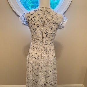 Parker White and Blue Eyelet dress